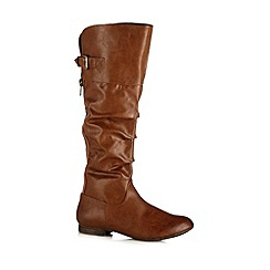 Call It Spring - Brown 'Rave' ruched high leg boots