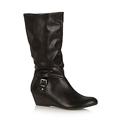 Call It Spring - Black 'Giara' ruched mid calf wedge boots