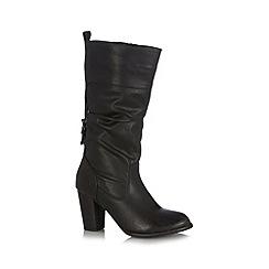 Call It Spring - Black 'Alinoe' high heeled calf length boots