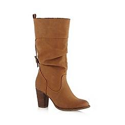 Call It Spring - Tan 'Alinoe' high heeled calf length boots