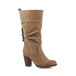 Call It Spring - Taupe 'Alinoe' high heeled calf length boots