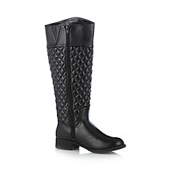 Call It Spring - Black 'Frelilian' quilted mid heeled high leg boots