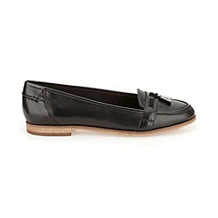 Clarks - Black Leather  Angelica Crush flat trimmes loafer