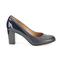 Clarks - Navy leather Basil Auburn plain heeled court shoe