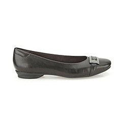 Clarks - Navy leather 'Candra Glare' flat trimmed pump