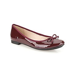 Clarks - Oxblood patent  'Carousel Ride'  flat pump with bow detail