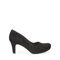 Clarks - Black suede Chorus Voice plain court shoe