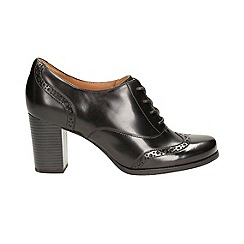 Clarks - Black leather 'Ciera Pier' heeled lace up brogue