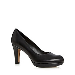 Clarks - Black leather Crisp Kendra heeled platform court shoe