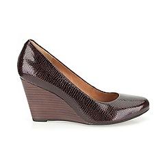 Clarks - Burgundy Elsa Purity  high heeled wedge court shoe