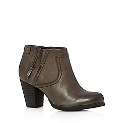 Clarks - Grey leather 'Macay Halle' mid heeled ankle boot