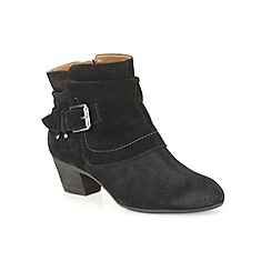 Clarks - Black suede 'Melanie Jude' mid heeled ankle boot