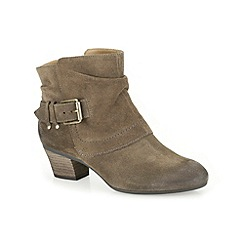 Clarks - Khaki suede 'Melanie Jude' mid heeled ankle boot