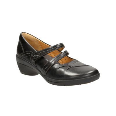 Clarks Black leather ´Un Fola´ casual mid heeled bar shoe - . -