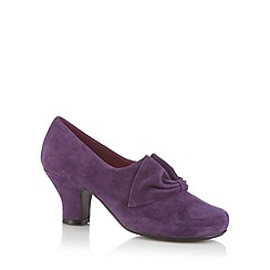Hotter - Purple suede cutout bow mid shoe boots