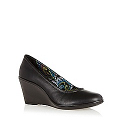 Hotter - Black leather mid wedge court shoes