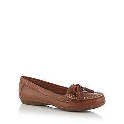Hotter - Tan leather tassel lace moccasin shoes