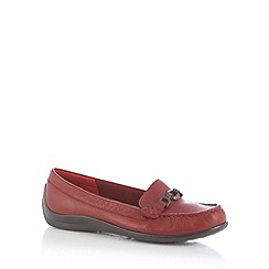 Hotter - Dark red leather snaffle trim loafers
