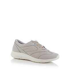Hotter - Light grey leather lace up trainers