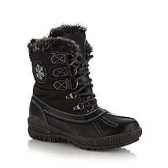 Natures Own - Black faux fur lined mid heeled calf length snow boots