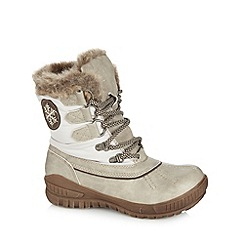 Natures Own - Cream faux fur lined mid heeled calf length snow boots