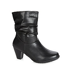 Natures Own - Black ruched low heel ankle boots
