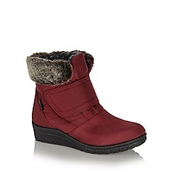 Cushion Walk - Wine canvas cuff ankle boots