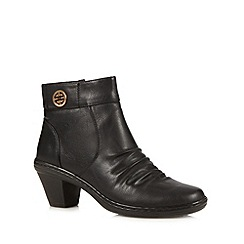 Cushion Walk - Black ruched mid ankle boots