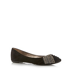 Call It Spring - Black 'Redena' faux suede embellished pumps