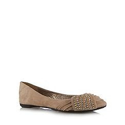 Call It Spring - Taupe 'Redena' faux suede embellished pumps
