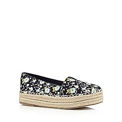 Call It Spring - Navy 'Zerallan' floral straw slip on shoes