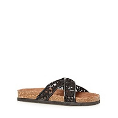 Call It Spring - Black 'Barrese' floral lace flip flops