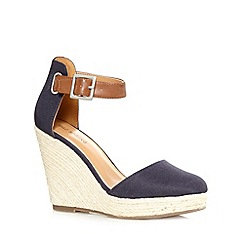 Call It Spring - Navy 'Zelini' straw wedge high sandals