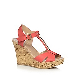 Call It Spring - Bright coral 'Deggiano' high wedge sandals