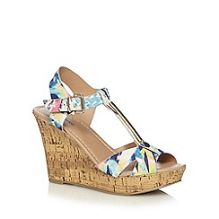 Call It Spring - Blue 'Deggiano' abstract floral high wedge sandals