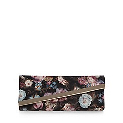 Call It Spring - Black 'Mascarena' floral clutch bag