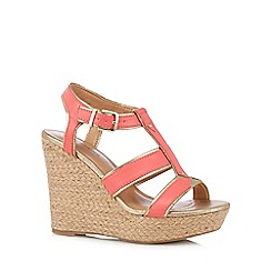 Call It Spring - Bright orange straw high wedge sandals