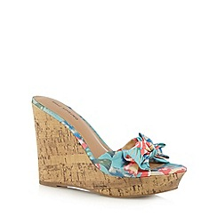 Call It Spring - Light blue 'Gralivia' floral wedge sandals