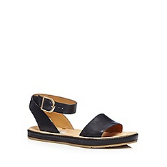 Clarks - Black 'Romantic Moon' leather ankle buckle strap sandals