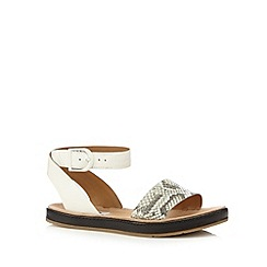 Clarks - White 'Romantic Moon' leather ankle buckle strap sandals