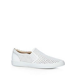 Clarks - White 'Glove Puppet' leather slip on shoes