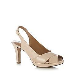 Clarks - Natural 'Delsie Kala' leather high heel court shoes