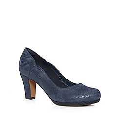 Clarks - Navy 'Chorus Nights' leather reptile mid court shoes