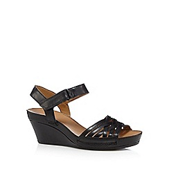 Clarks - Black 'Rusty Wish' leather mid sandals