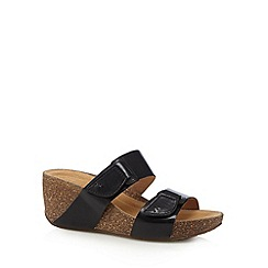 Clarks - Black 'Temira East' leather mid wedge sandals