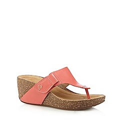 Clarks - Coral 'Temira West' leather mid wedge sandals
