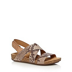 Clarks - Taupe 'Perri Dunes' leather sandals