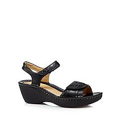 Clarks - Black 'Un Dory' leather mid sandals