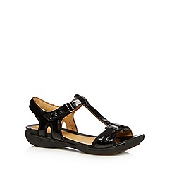 Clarks - Black 'Un Voshell' patent leather T-bar sandals