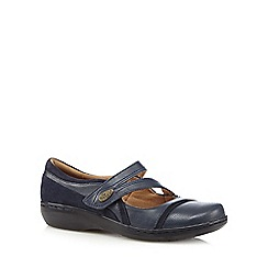 Clarks - Navy 'Evianna Crown' asymmetric strap leather shoes